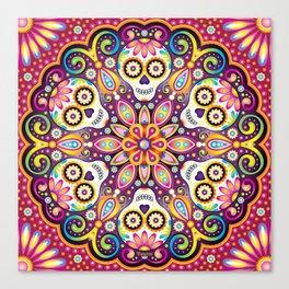 Sugar Skull Mandala - Day of the Dead Mandala Art by Thaneeya McArdle Canvas Print