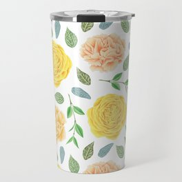 Hand painted yellow coral watercolor modern floral Travel Mug