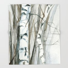 Winter Birch Trees Woodland Watercolor Original Art Print Throw Blanket