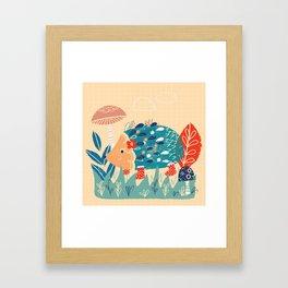 Hedgehog toadstool print Framed Art Print
