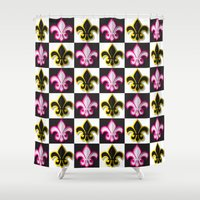 fleur de lis Shower Curtains featuring Fleur de lis pattern by Rceeh