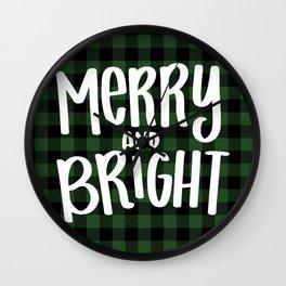 Merry and Bright Christmas Buffalo Plaid Wall Clock