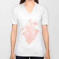 princess peach V-neck T-shirts featuring Peach and Coral Princess by Sam Luotonen