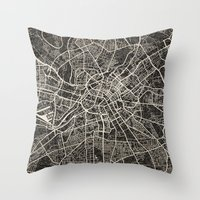 manchester Throw Pillows featuring manchester map ink lines by NJ-Illustrations