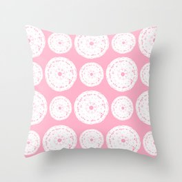 White Doilies w/ a Light Pink Background (Style 1) Throw Pillow