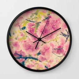 Sweet Pink Pompom Blossoms of Yaezakura Cherry -- Spring Botanical in Vintage Tones Wall Clock