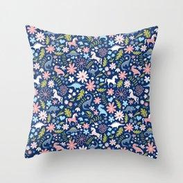 Dinosaur + Unicorn on Royal Blue Throw Pillow