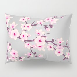 Cherry Blossoms Pink Gray Pillow Sham