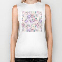 Pastel Purple and blue Lilac & Hydrangea - Flower Design Biker Tank