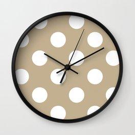 Large Polka Dots - White on Khaki Brown Wall Clock