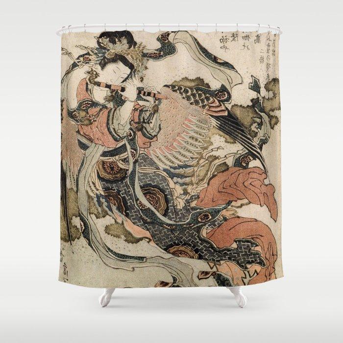 Hokusai, Aspara and the flute – musician manga, japan,hokusai,japanese,北斎,ミュージシャン Shower Curtain