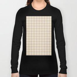 White and Tan Brown Diamonds Long Sleeve T-shirt