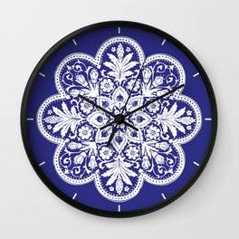 Floral Doily Pattern   Lace Crochet Doilies   Needle Crafts   Blue and White   Wall Clock