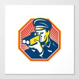 Policeman Police Officer Speed Camera Radar Canvas Print