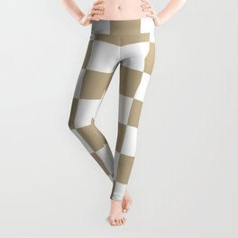 Checkered - White and Khaki Brown Leggings
