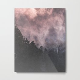Forest of Trees with a Smoke Filled Sky Metal Print