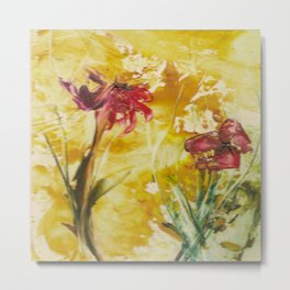 Abstract Red Poppies From Original Encaustic Art Metal Print