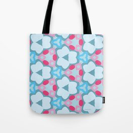 Flower-Kaleidoscope Blue Tote Bag