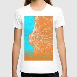 Reggio Calabria, Italy, Gold, Blue, City, Map T-shirt