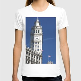 Chicago Clock Tower, American Flags T-shirt