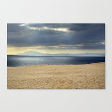Sand dune, Meditarranean sea and African mountains. Canvas Print