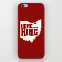 lebron iPhone & iPod Skins featuring Home of the King (Red) by Denise Zavagno