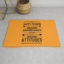 Lab No. 4 A Happy Person Is Not Hugh Downs Motivational Quote Rug
