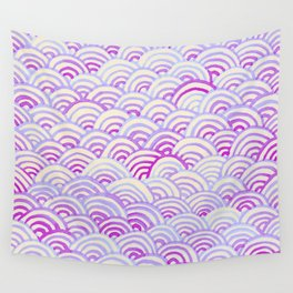 Watercolor Waves - Peach Violet Wall Tapestry