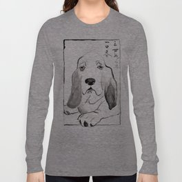 Basset Hound in Japanese Ink Wash Long Sleeve T-shirt