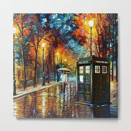 Tardis And Umbrella girl Metal Print