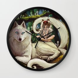 Wolf Princess in the Forest Wall Clock