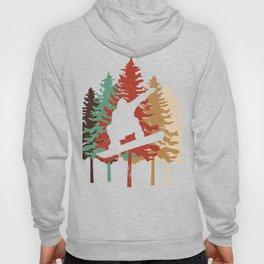 Snowboarding gift Design Vintage Pine Tree Style print Hoody