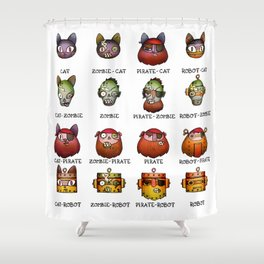 Cat Zombie Pirate Robot Shower Curtain