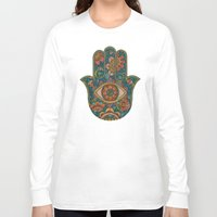 hamsa Long Sleeve T-shirts featuring Hamsa by Valentina Harper