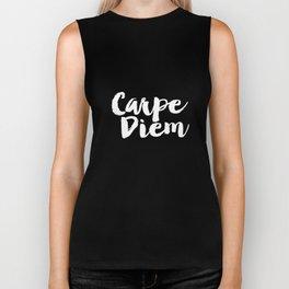 Carpe Diem black and white typography poster black-white design home decor bedroom dorm wall art Biker Tank