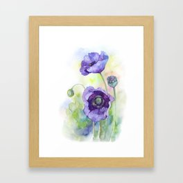 Watercolor blue poppy flowers Framed Art Print