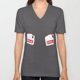 Funny Breastfeeding MILK Lactation Shirt Unisex V-Neck