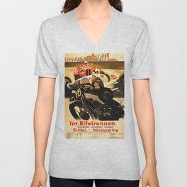 Nurburgring Race, vintage poster Unisex V-Neck
