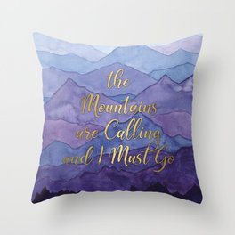 Blue Watercolor Mountains Calling Throw Pillow