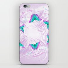 Abstract vibrant butterflies against a floral background featuring wattle iPhone Skin