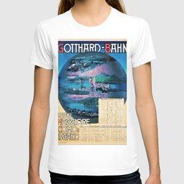1897 Gotthard-Bahn, Lakes Maggiore, Como & Lugano Vintage Travel Poster T-shirt