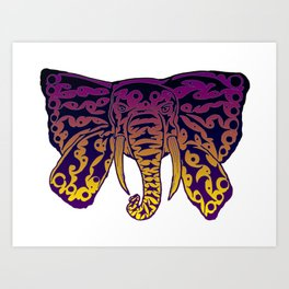 Colorful Elephant Butterfly Tribal Tattoo Art Print