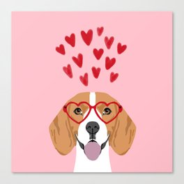 Beagle head love hearts valentines day dog breed must have gifts Canvas Print