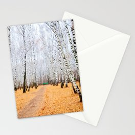 Green Bench And Fallen Leaves. Late Autumn In The Birch Grove Stationery Cards