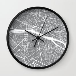 Grey City Map of Paris, France Wall Clock