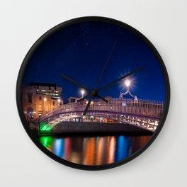 Dublin's Landmark Ha'Penny Bridge By Night Wall Clock