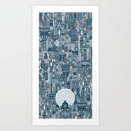 space city mono blue Art Print