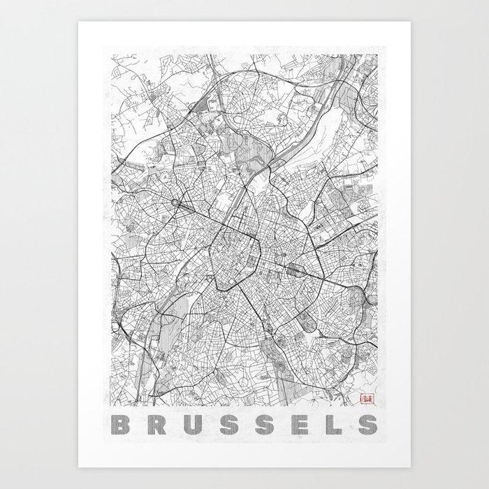 Brussels Map Line Art Print