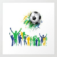world cup Art Prints featuring World Cup Fever by Robin Curtiss