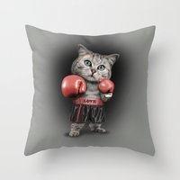 boxing Throw Pillows featuring BOXING CAT by ADAMLAWLESS